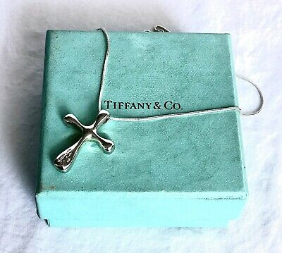 $35 • Buy TIFFANY & CO Sterling Silver 925 Elsa Peretti Cross Necklace Pendant 16""