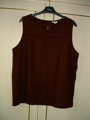 £9 • Buy Clearance ~ Next* Sleeveless Chocolate Brown Top With Crochet Inset- 16r-new.