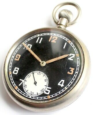 Pocket Watch - Military - Record - G.S.T.P - WW2 - Swiss Made - Antique - Rare • 230£