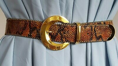 $ CDN132.99 • Buy Vintage BB Simon Gold Shining Buckle Embossed Animal Leather Belt Size L