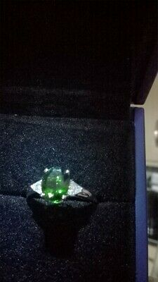 ILiana 18ct Gold Russian Chrome Diopside/ Diamond Ring Size N/O Ex Condition • 500£