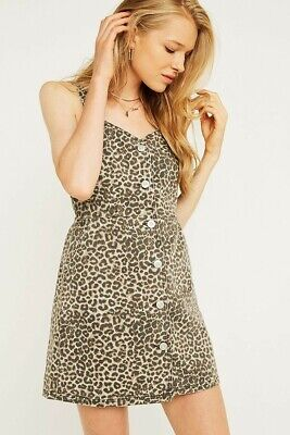 AU15 • Buy BDG Urban Outfitters | Leopard Print Denim Pinafore Overall Dress | New W/ Tags