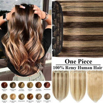 Russian Real Remy Clip In Human Hair Extensions One Piece 3/4Full Head Ombre 287 • 18.49£