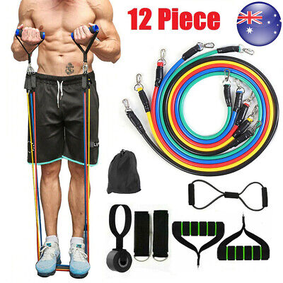 AU23.89 • Buy 12x Heavy Duty Resistance Bands Set Pull Up Tubes With Handle Door Anchor GYM AU