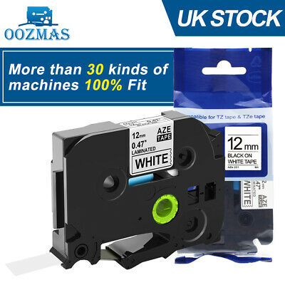 Compatible Label Tape Fits Brother TZ-231 P-Touch Black On White 12mmx8m TZe-231 • 2.55£