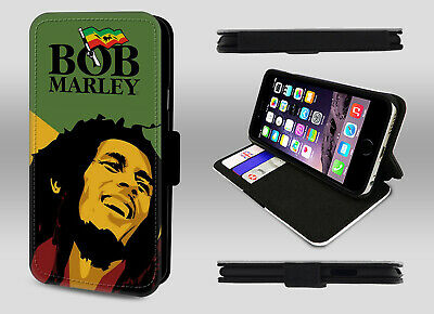 Bob Marley Legend Reggae Jamaican Flag Wallet Leather Flip Phone Case Cover • 8.95£
