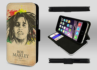 Bob Marley Legend Reggae Rastaman Feel No Pain Wallet Leather Phone Case Cover • 8.95£