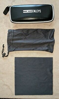 £4.99 • Buy Black HENLEYS Zip Lock Glasses Spectacle Case. Soft Travel Pouch/Sleeve & Cloth