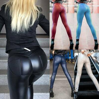 Women High Waist PV Leather Leggings Skinny Wet Look Stretch Pants Trousers G9 • 13.49£