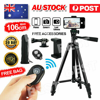 AU20.95 • Buy Professional Camera Tripod Stand Mount Remote + Phone Holder For IPhone Samsung