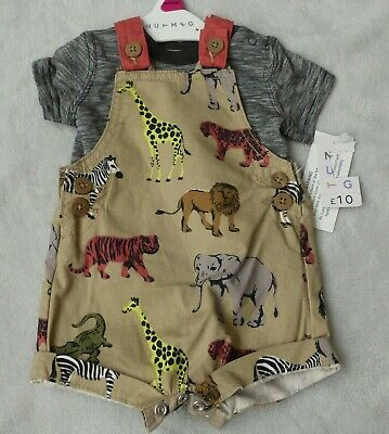 Baby Boys Short Dungerees And T Shirt Set With Animal Print 6/9 Months • 5£