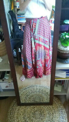 Double Side Red Wrap Around Skirt With Floral / Ethnic Print- Free Size • 7.50£