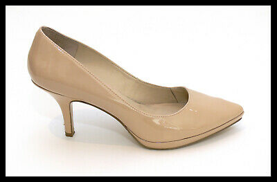 AU39.95 • Buy NINE WEST  Reaves  Natural Nude Patent Leather Slip On Platform Heels Size 7M