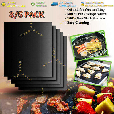 AU16.99 • Buy BBQ Grill Mat Reusable Bake Sheet Resistant Teflon Party Meat Barbecue Non-Stick