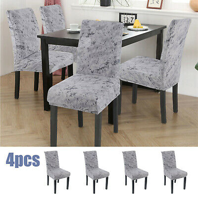£9.59 • Buy 4pcs Crushed Velvet Stretch Dining Chair Seat Cover Protective Slipcover Home