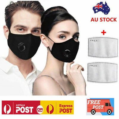 AU9.68 • Buy Washable Reusable PM2.5 Anti Air Pollution Face Mask Respirator Mask + 2 Filters