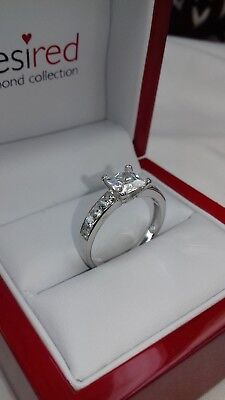 925 Sterling Silver Princess Cut Solitaire Engagement Ring. Size N, Video2 #JW1 • 19.95£