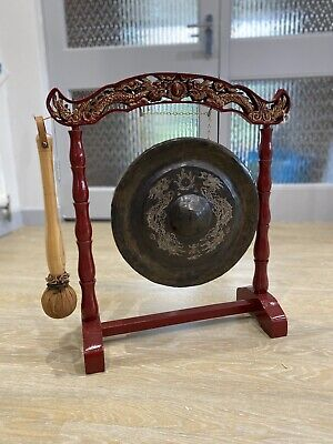 Brass Dinner Gong Chinese Dragons Freestanding Leather Striker Antique Vintage • 499.83£