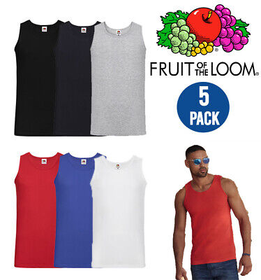 £13.99 • Buy Pack Of 5 Fruit Of The Loom Men's Valueweight Athletic Vest