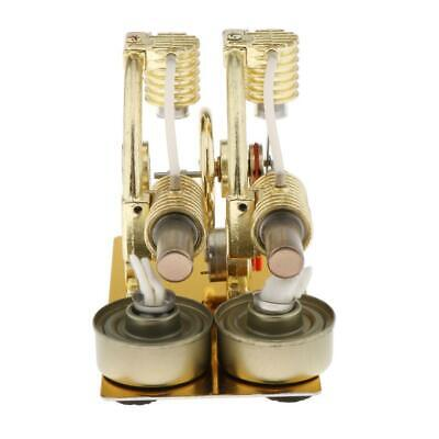 Sterling Engine Twin-Cylinder Steam Heat Physics Science Toy Props Gifts • 44.35£