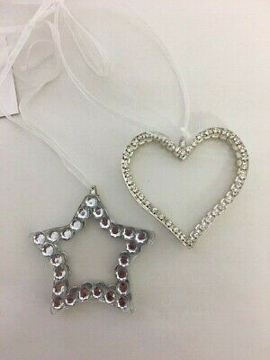 Hanging Star Heart Crystal Glass Hanging Decoration Love Wedding Family Friends • 5.99£