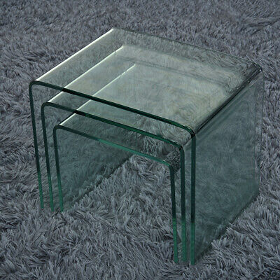 Set Of 3 Glass Nest Of Side Tables For Cafe Home Tea Coffee Curved Glass Table • 76.99£