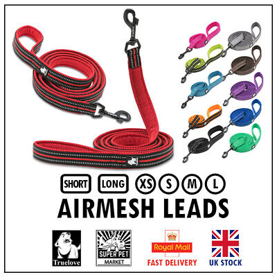 £10.99 • Buy Dog Leads Truelove AirMesh Reflective Short & Long Leash Red 11 Colours XS S M L