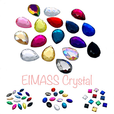100 X Assorted Colour Shapes Crystals Packs, EIMASS® Flat Back Acrylic Gems  • 5.99£