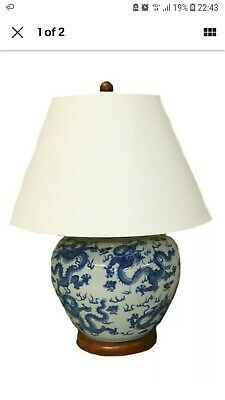Ralph Lauren Home Large Dragon Chinese Pattern Porcelain Table Lamp Rare New  • 220£