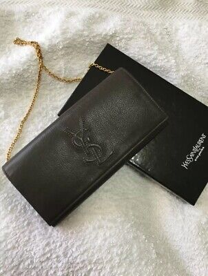AU395 • Buy Genuine YSL Gold Chain Wallet Clutch Bag. Great Condition.