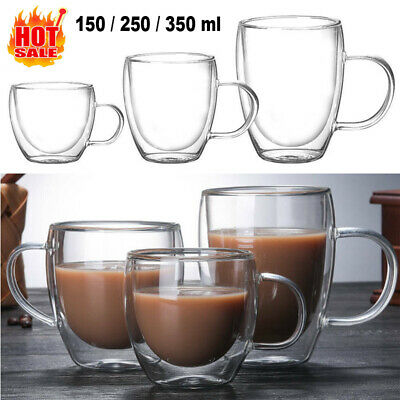 150-350ml Coffee Tea Hot Drink Glass Mug Cup Clear Double Wall Insulated Thermal • 11.98£