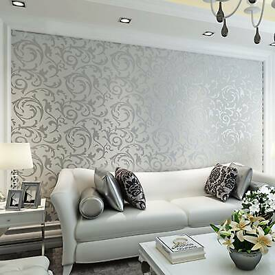 Modern Home Decor Metallic Textured Damask Embossed Wallpaper Soft Gray Silver • 8.99£