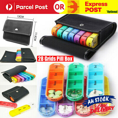 AU14.99 • Buy 28 Grids 7 Day Weekly Storage Pill Box Tablet Sorter Container Case Organizer AU