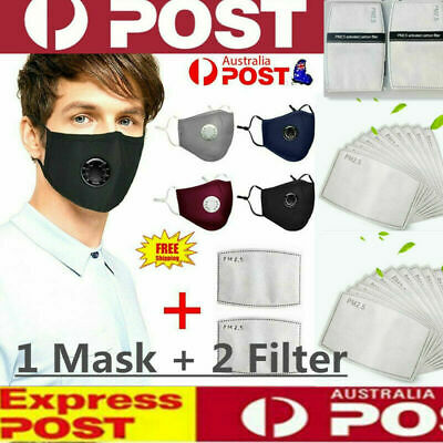 AU10.68 • Buy Washable Reusable PM2.5 Anti Air Pollution Face Mask With Respirator & 2 Filters