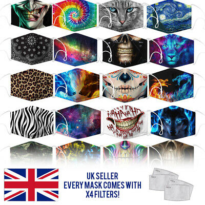 £2.99 • Buy Reusable Washable Face Mask Protect Fashion Design Nose Clip Adult UK X4 FILTERS