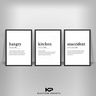 £10.99 • Buy Kitchen Definition Hangry Noun Print Typography Snaccident Poster Art Picture