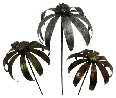 Metal Daisy Flower Garden Ornament Set Of 3 Echinacea On 100cm Stick - MIXED COL • 29.99£