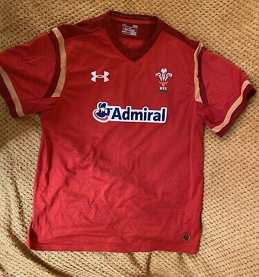 Under Armour Wales Rugby Union Home Shirt Season 2015-17 Size Large Great Cond • 9.40£