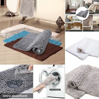 Large Non Slip Bathroom Rugs Shaggy Soft Fluffy Bath Mat Absorbent Shower Mats~ • 7.59£