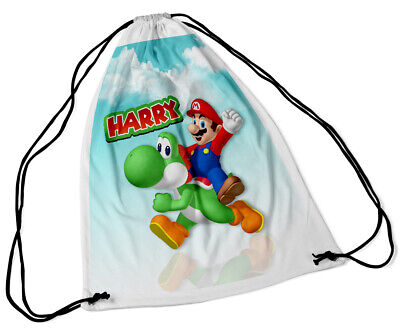 Personalised Drawstring Bag Any Name Super Mario School Nursery PE Gift 40 • 7.99£