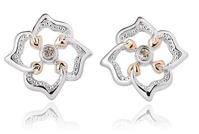 NEW Welsh Clogau Silver & Rose Gold Tree Of Life Flower Stud Earrings £40 Off! • 49£