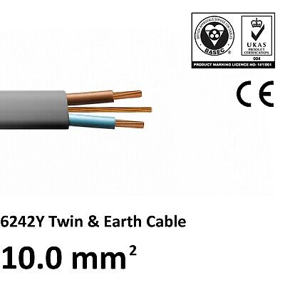 OFFER 10mm Twin And Earth T&E Cable Wire Electric Cooker Shower High Power  • 4.87£