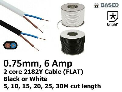 £3.47 • Buy 6 Amp 0.75mm Flat Cable Flex 2 Core 2192Y Black White Electrical Wire Light -