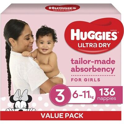 AU40 • Buy Huggies Ultra Dry Mega Nappies Girls Size 3 Crawler (6 - 11kg) - 136 Pack
