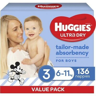 AU40 • Buy Huggies Ultra Dry Nappies Boys Size 3 Crawler (6 - 11kg) - 136 Pack
