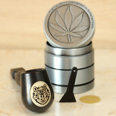 Eura Wolf Wood Pipe Hand Carved Smoking Pipe Tobacco Tagua Pot & 4p Herb Grinder • 11.56£