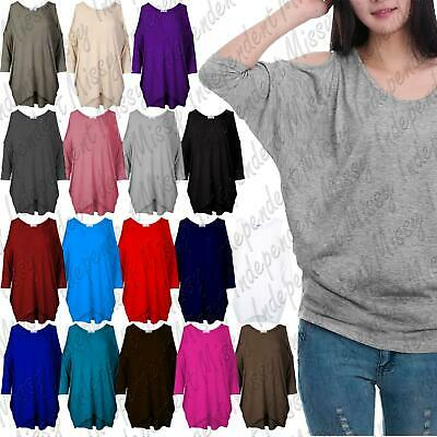 £6.99 • Buy Womens Ladies Cut Out Cold Shoulder Batwing Long Top Tunic Loose Baggy Oversize