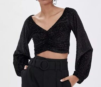 $25 • Buy Zara Black Cropped Top Size S New With Tags