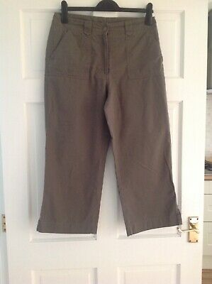 M & S Khaki Crop Trousers • 2£