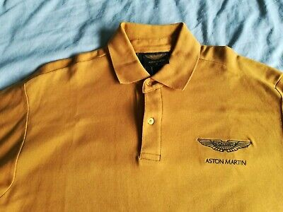 Aston Martin Polo Shirt Le Mans Classic Official Yellow Mustard Gold NEW • 35£